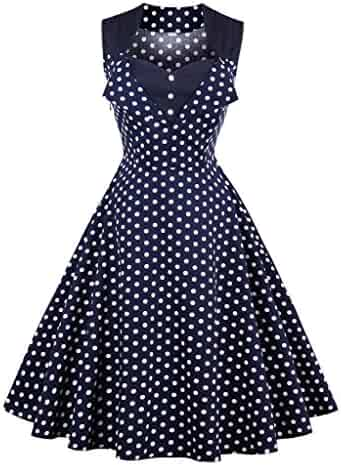 5757007d94ae Killreal Women's Polka Dot Retro Vintage Style Cocktail Party Swing Dresses