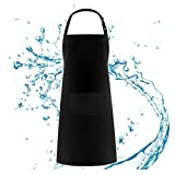 BOHARERS Bib Apron High Waterproof Adjustable Neck for Women Man Unisex with 2 Pockets Kitchen Cooking 27 x 29 inches, Black