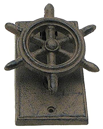 Nautical cast iron rustic look ship wheel door knocker  sc 1 st  Amazon.com & Nautical cast iron rustic look ship wheel door knocker - - Amazon.com