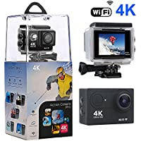 Action Camera,Bekhic 4K WiFi Ultra HD Waterproof Sport Camera with 170 Wide-Angle Lens and Rechargeable Battery, Including Waterproof Case and Full Accessories Kits