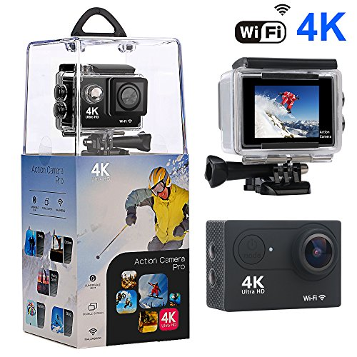 Action Camera,Bekhic 4K WiFi Ultra HD Waterproof Sport Camera with 170 Wide-Angle Lens and Rechargeable Battery, Including Waterproof Case and Full Accessories Kits Action Cameras Bekhic