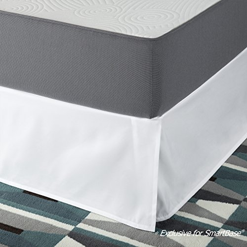 SmartBase Easy On / Easy Off Bed Skirt for 14 Inch SmartBase Mattress Foundation, Queen, White (Breeze Skirt)