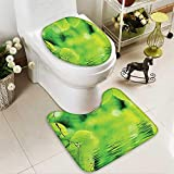 SOCOMIMI 2 Piece Toilet mat Set Leaves in The Water Spa Open Your Chakra Nature Meditation Ecological Monochrome 2 Piece Shower Mat Set