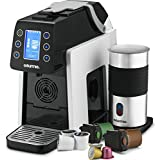 Gourmia GCM5000W One Touch K-Cup & Espresso Capsule Coffee Machine, Compatible With Nespresso and K-Cup & More, Built In Milk Frother, Adjustable Temperature & Size, Digital Display - White