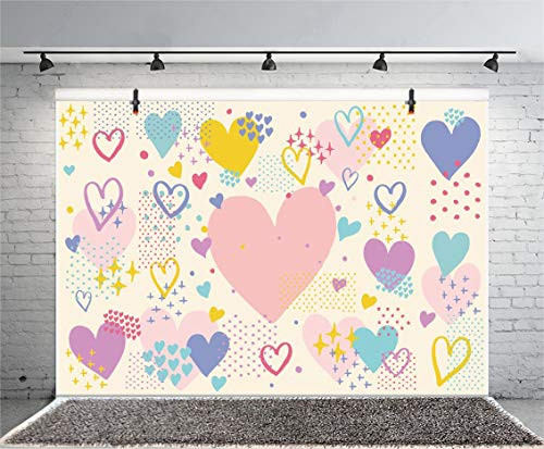 Leyiyi 10x8ft Watercolor Banner Photography Heart Shape Grunge Shining Twinkle Stars Spots Board Rustic Western Party Backdrop Kids Birthday Baby Shower Baptism Love Photo Portrait Vinyl Studio Prop