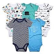 Romperinbox Unisex Baby Bodysuits 0-12 Months (6-9 Months, Navy/Green/Gentlemen)