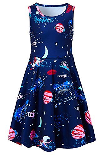 BFUSTYLE Girls Galaxy Astronaut Dress Casual Yellow Blue Black Space Crew Neck Slim Fit Twirl Dresses Fall School Beach Outfit Costume Gift for Kid Preschooler Daughter 6-7 Years Old]()