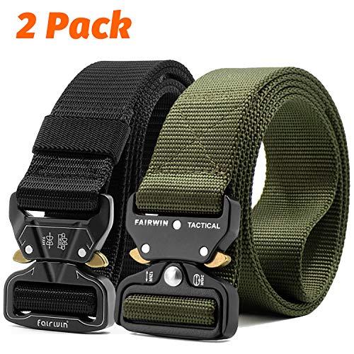 Fairwin Tactical Belt, 2 Pack 1.5 Inch Military Tactical Belts for Men - Carry Tool Belt (Black+Green, Waist 36