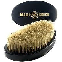 The Mane Brush - Mens Curved Military Hair and Beard Brush - Curved 360 Wave Brush - 100% Boar Bristle (Black Bristle)