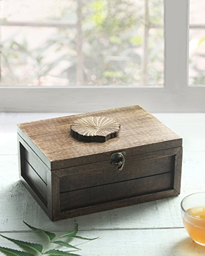Green Condiment Holder (Collectible Wooden Tea Box Chest with 6 Compartments Teabags Condiments Spices Holder Organizer Keepsake Storage Box Handmade with Floral Design)