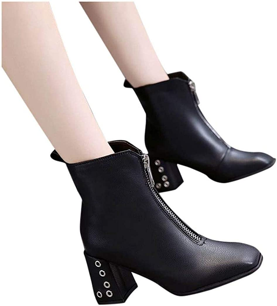 Women Chunky Heel Boots,Fashion Mid-Heel Ankle Booties High Pumps Solid Color Zip Square Heels Pointed Toe Women Shoes