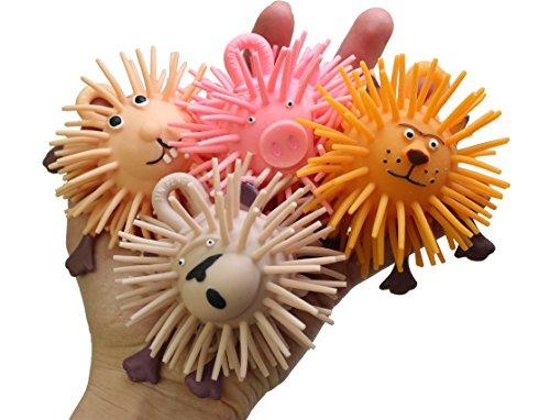 (Curious Minds Busy Bags SET OF 4 Adorable Mini Animal Puffer Balls - Lion, Pig, Rabbit, Monkey - Sensory Fidget Toy)