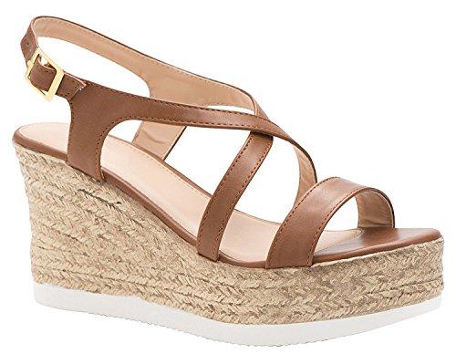 (Women's Espadrille Platform Wedge Sandal Open Toe Crisscross Strappy Slingback Dress Summer Shoes Tan 5.5)