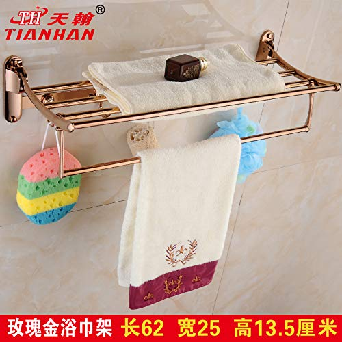 LHbox Tap Gold Plated Deluxe Towel Rack Rose Gold Double Folded Bath Towel Rack Antique of Wall Mount Bracket, Rose Gold Bath Towel Rack