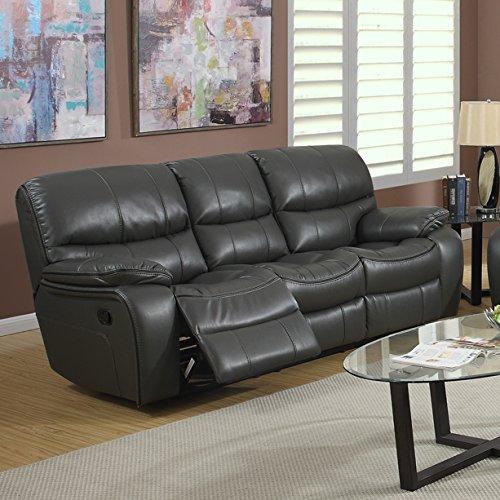 Roundhill Furniture Ewa Leather Air Reclining Sofa, Grey