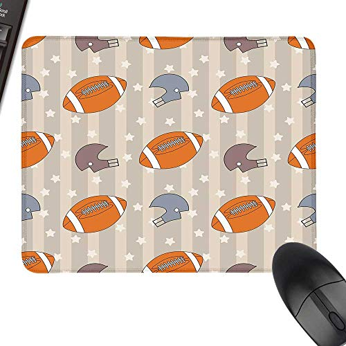Football Gaming Mousepad Faded Stars and Stripes with Classical Sports Symbols USA Retro Tile Keyboard Mouse Pad 23.6