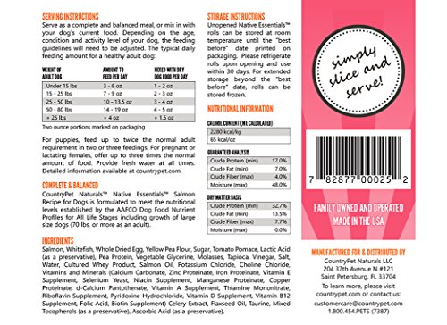 Native Essentials Dog Food (Salmon Recipe, 8 Rolls - 12 lbs) - Natural Ingredients with Added Vitamins & Minerals - Shelf Stable Food, Topper or Training Reward - Made in The USA by CountryPet Naturals (Image #4)