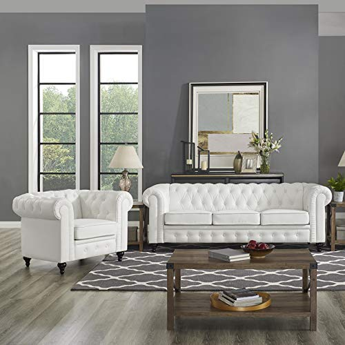 Naomi Home Emery Chesterfield Sofa & Accent Chair White (Sofa Room Chesterfield Living Small In)