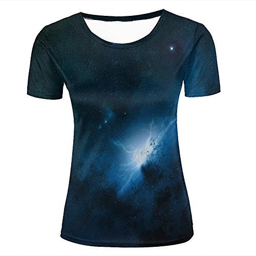 Women's Novelty 3D Graphic Printed T Shirts Blue Nebula In Space Summer Short Sleeve T-Shirt Tops (Halloween Space Miami)