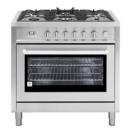 (Cosmo COS-965AGFC 36 in. 3.8 cu. ft. Single Oven Gas Range with 5 Burner Cooktop and Heavy Duty Cast Iron Grates in Stainless Steel)