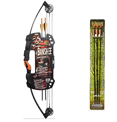 Lil Barnett Banshee Compound (Barnett Banshee Junior Archery Set + Barnett Outdoors Junior Archery 28-Inch Arrows (3 Pack))