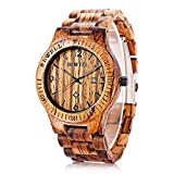RoseGal Waterproof Male Wooden Quartz Analog Bamboo Watch with Date Display Wrist Watch