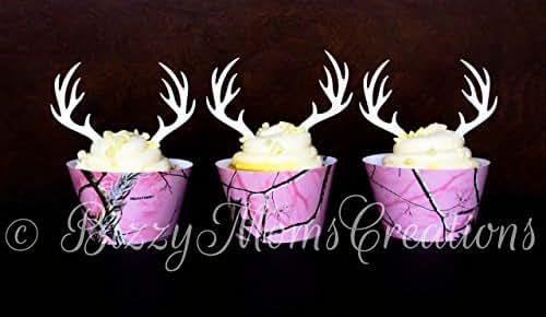 Amazon Com Set Of 12 White Glitter Deer Antler Cupcake