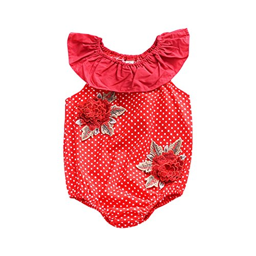 MiyaSudy Newborn Infant Baby Girl Romper 3D Flower Applique Floral Romper Ruffle Bodysuit Sunsuit