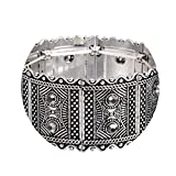 Vintage Ancient Gold and Tibetan Silver Plated Openwork Wide Cuff Bracelet & Bangle for Women