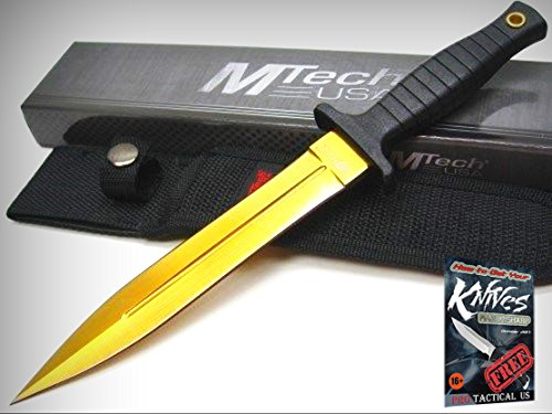 MTECH Black Straight Gold DAGGER Fixed Blade Knife + Sheath New! 01120-77GD + free eBook by ProTactical'US