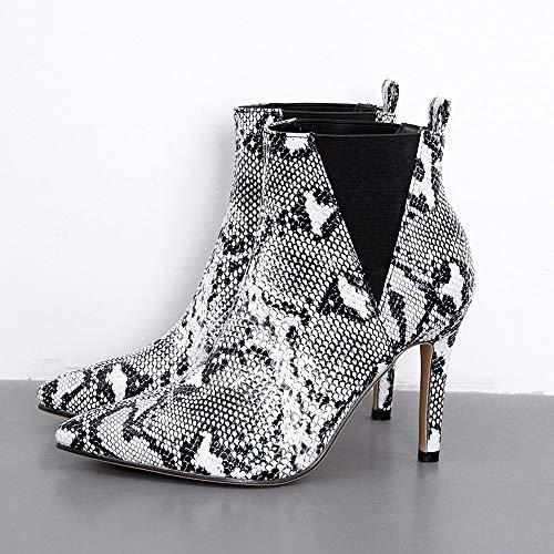 Invernali Alte Beautyjourney Donna Tacco Grigio Eleganti Alto Scarpe Stivaletti Stivali Boots Stivale Martin Cuoio Pelle Con r664qHIw