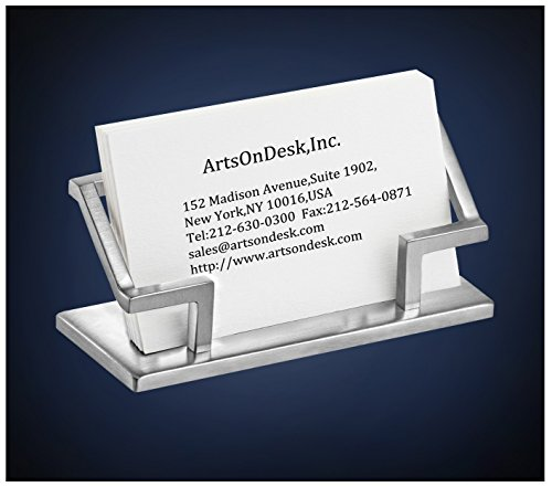ArtsOnDesk Modern Art Business Card Holder St201 Stainless Steel Satin Finish Patented Luxury Desk Accessory Business Name Card Stand Case Office Organizer Christmas Valentines Day Graduation Gift Accessories Business Card Holder
