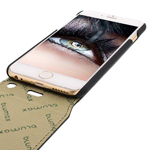 Blumax ® Flip Ledertasche Schwarz mit Magnetverschluss für IPhone 6 IPhone 6S| Case Hülle cover Etui Tasche flipstyle flipcase Klappbar aus echtem Leder Schutzhülle Lederhülle Glamour Luxus star