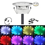 6X QACA Outdoor Path Lights Kit for Garden Patio Recessed Underground Step Stairs Low Voltage LED Lamps DC 12V Waterproof IP67 (6pcs, RGB)