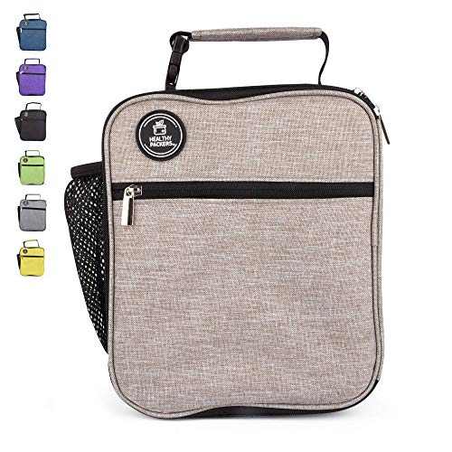 - Insulated Lunch Box for Adults and Kids - Professional Work Lunch Bag for Men and Women - Spacious and Heavy Duty School Lunchbox for Boys and Girls (Light Grey)