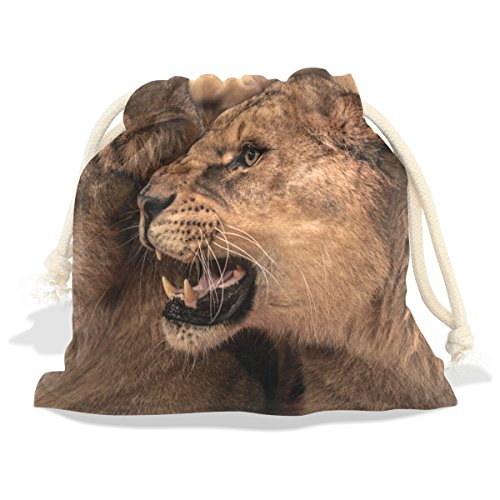 Fierce African Lion Velvet Drawstring Gift Bag Wrap Present Pouches Favor for Jewelry, Coin, Holiday, Birthday, Party (Zoey Quilt Set)