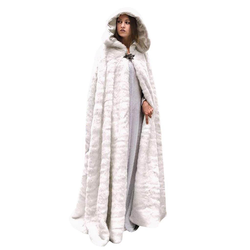 JESPER Women Winter Warm Maxi Long Faux Fur Fleece Cloak Deluxe Velvet Cape with Lined Hood White by JESPER