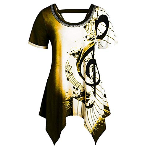 PEIZH Casual Women Asymmetrical T-Shirtmusical Notes Print Top Chains Embellished Tee Blouse Women's Top Yellow