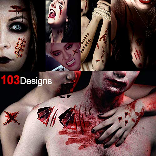 Konsait Halloween Zombie Scars Vampire Wounds Temporary Tattoos(103Dedigns), Fake Scab Bloody Scars Costume Makeup Sticker Transfers Tattoos for Adult Kids Halloween Horror Party Decoration]()