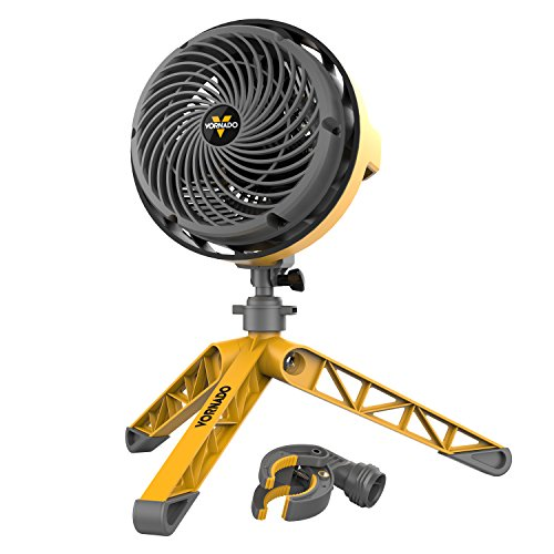 Compact Floor Fan - Vornado EXO5 Heavy-Duty Shop Air Circulator Fan with High-Impact Housing, Collapsible Tripod Base, Clamp Attachment