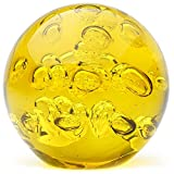 Glass Handmade Large Paperweight - Spa Bubbles - Yellow - 4'' tall. One-of-a-kind. FREE SHIPPING to the lower 48 when you spend over $35.00