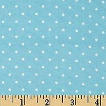 Cozy Cotton Flannel Mini Dots Aqua Fabric By The Yard