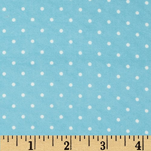 Robert Kaufman Cozy Cotton Flannel Mini Dots Aqua Fabric by The Yard, ()