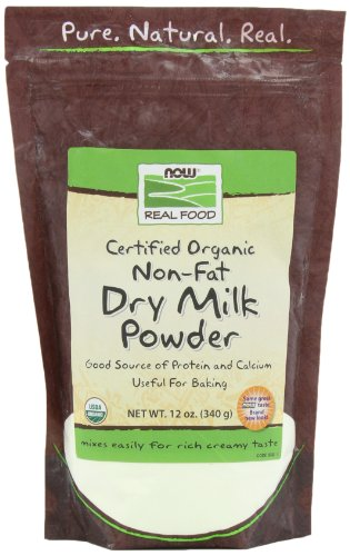 Powder Milk Nonfat Dry (NOW Foods Non Fat Dry Milk Powder Organic, 12-Ounce (Pack of 2))