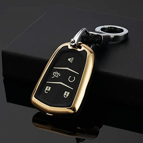 ontto for Cadillac Leather ABS Plastic Key fob Cover Skin with Zinc Alloy Key Chain Black