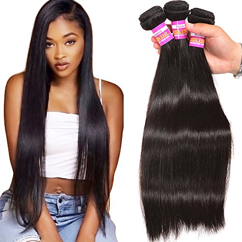 Unprocessed Brazilian Virgin Human Hair 3 Bundles Silky Straight Human Hair Weave Weft Grade 8A Real Cheap Hair Bundles Natural Black Color Can Be Dyed(12 12 12) (12 Inch For Irons Hair Flat)