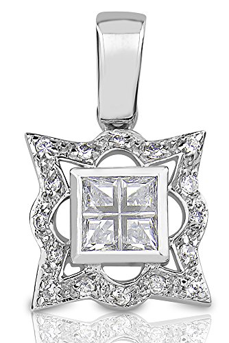 Sterling Manufacturers Women s Sterling Silver .925 Pendant for a Necklace, Princess-Cut Invsible Look Center Cubic Zirconia Stone