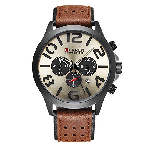 Date Champagne Dial - Curren Mens Analog Quartz Watches Date Casual Classic Business Water Resistant Leather Wrist Band Watch Best Valentine's Day Gift for her 8244 (Champagne)