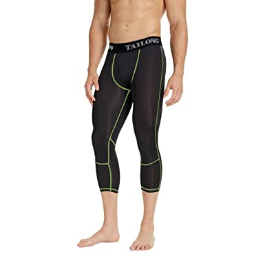 a375fbe9eb9ca3 TAILONG Quick Dry Running Pants Basketball Tights for Men 3/4 Workout Capri  Exercise Leggings Compression (2XL, Green): Amazon.co.uk: Clothing