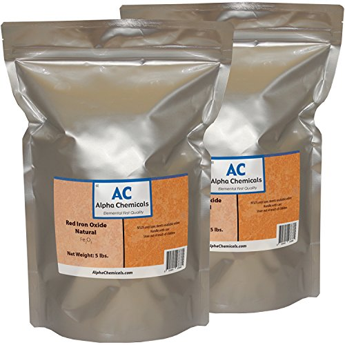Red Iron Oxide - Fe2O3 - Natural - 10 Pounds - (2-5 lb bags)